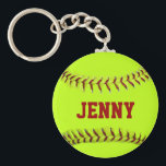 "Personalized Softball Keychain<br><div class=""desc"">Customize this keychain with your name. ALWAYS BE SURE TO CLICK ON THE &quot;DESIGN&quot; TAB TO ENSURE THE NAME FITS INSIDE THE DOTTED LINES.</div>"