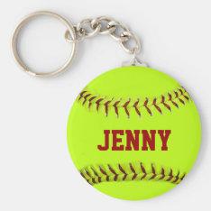 Personalized Softball Keychain at Zazzle