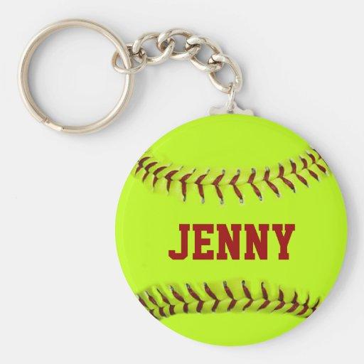 Personalized Softball Keychain