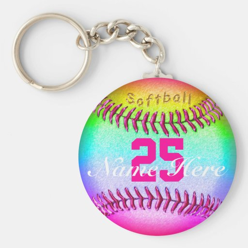 PERSONALIZED Softball Keychains NUMBER and NAME