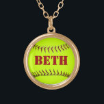 """Personalized Softball Necklace<br><div class=""""desc"""">Show your love for the game where ever you go. Make this necklace your GOOD LUCK CHARM and wear it in the game!</div>"""