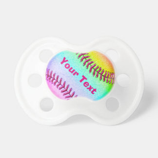 Personalized Softball Pacifier for Baby Girls