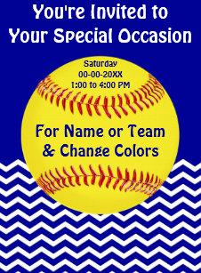softball party invitations zazzle