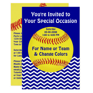 Personalized Softball Party Invitations