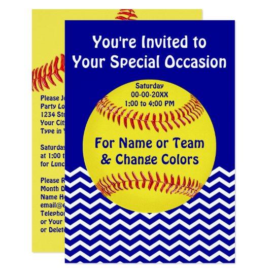 personalized softball party invitations zazzle com