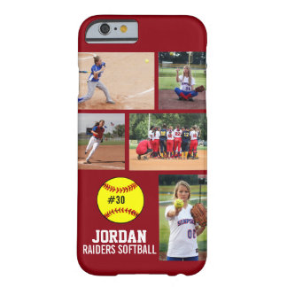 Personalized Softball Photo Collage Name Team Barely There iPhone 6 Case