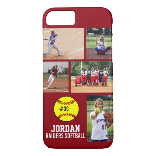 sports shoes 6de04 d0e8f Personalized Softball Photo Collage Name Team Case-Mate iPhone Case