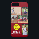 "Personalized Softball Photo Collage Name Team iPhone 8/7 Case<br><div class=""desc"">This personalized Softball iPhone case features your 5 photos, player&amp;#39;s name, number and team name. Personalize with action shots, a team photo, tournament photos, etc. Easily change the background color to match your team&amp;#39;s colors - just click customize and then the small eye dropper. The perfect photo collage to show...</div>"
