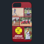 """Personalized Softball Photo Collage Name Team iPhone 8/7 Case<br><div class=""""desc"""">This personalized Softball iPhone case features your 5 photos, player&amp;#39;s name, number and team name. Personalize with action shots, a team photo, tournament photos, etc. Easily change the background color to match your team&amp;#39;s colors - just click customize and then the small eye dropper. The perfect photo collage to show...</div>"""