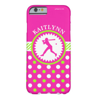 Personalized Softball Pink - Green Polka-Dots Barely There iPhone 6 Case