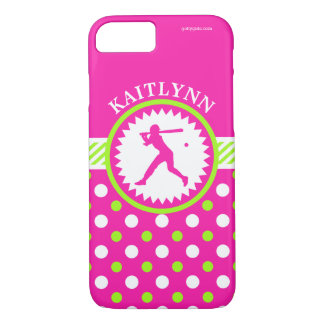 Personalized Softball Pink - Green Polka-Dots iPhone 7 Case