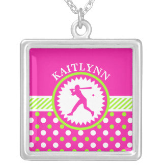 Personalized Softball Pink - Green Polka-Dots Silver Plated Necklace