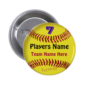 PERSONALIZED Softball Pins, NUMBER, NAME and TEAM Button
