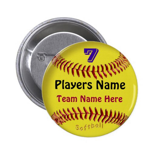 PERSONALIZED Softball Pins, NUMBER, NAME and TEAM Pinback Buttons