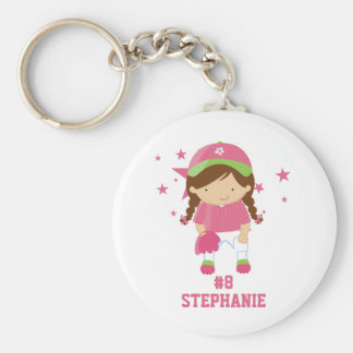 Personalized softball player and stars keychain