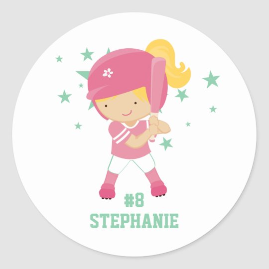 Personalized softball player and stars sticker