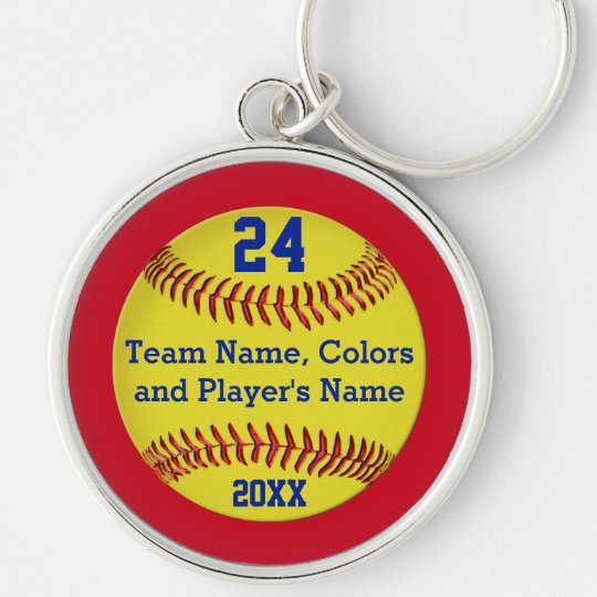 Personalized FREE with Name Team and Number! SOFTBALL Player Keychain Gift