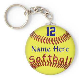 Personalized Softball Team Gift Ideas, NAME NUMBER Keychain