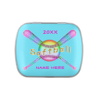 Personalized Softball Team Gift Ideas NAME & YEAR Jelly Belly Candy Tin