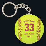 "Personalized Softball Team Keychain<br><div class=""desc"">Softball. Clipart softball theme. Customizable. Enter the player&#39;s name,  number,  team name and year.  Ideal gift for friends and family. Art by Jos&#233; Ricardo</div>"
