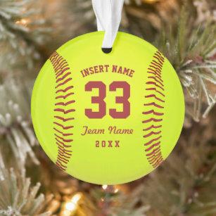 Softball PitcherSoftball Fast PitchSoftball Pitcher TeamSoftball Player Personalized Glass Etched Christmas Ornament