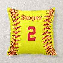 PERSONALIZED Softball Throw Pillow NAME and NUMBER