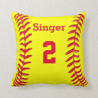 Personalized Softball Throw Pillow Name And Number at Zazzle