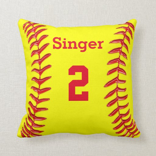 Personalized Softball Throw Pillow Name And Number Zazzle