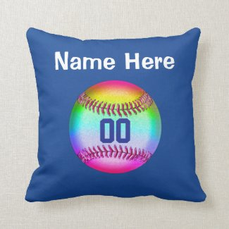 Personalized Softball Throw Pillow, NAME, NUMBER