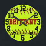 """Personalized Softball Wall Clock<br><div class=""""desc"""">Customize this clock by changing the player name.</div>"""