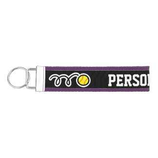 Personalized softball wrist keychains for girls