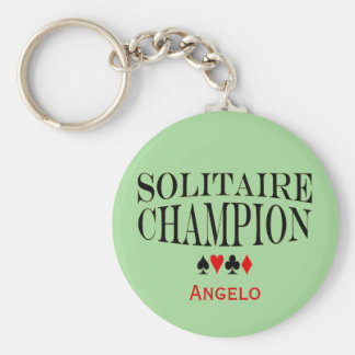 Personalized Solitaire Champion Keychain