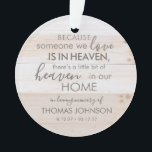 "Personalized Someone In Heaven Acrylic Ornament<br><div class=""desc"">Commemorate the life of your loved one with this memorial ornament personalized with their unique details including a name and birth and death years. You can also add an optional photo to the back of the ornament. The ornament can be displayed year round to remember their special life!</div>"