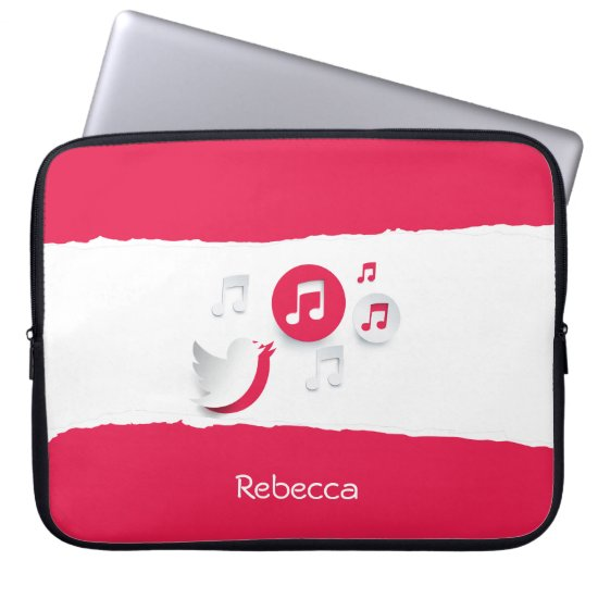Personalized Song Bird and Musical Notes Computer Sleeve