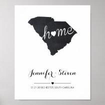 Personalized South Carolina State Map Chalkboard Poster
