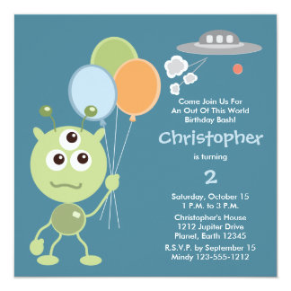 Personalized Space Alien Birthday Invitations