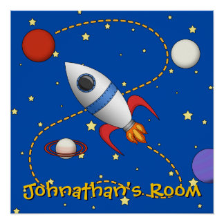 Personalized Space Rocket Ship in Orbit  Cartoon Poster