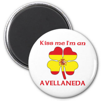Personalized Spanish Kiss Me I'm Avellaneda 2 Inch Round Magnet