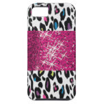 Personalized SPARKLE Pink and Cheetah Background iPhone 5 Case