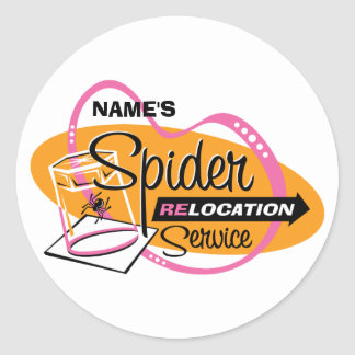 PERSONALIZED Spider Relocation Service Round Stickers