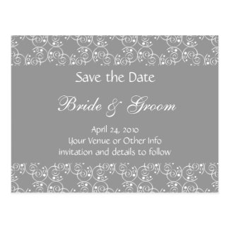 Personalized Spiral Swirls Save the Date Postcard