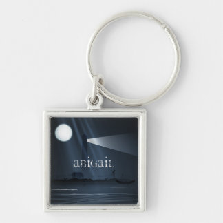 Personalized Spooky Lighthouse and Full Moon Night Keychain
