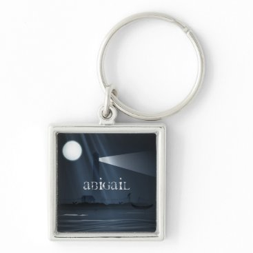 TheBeachBum Personalized Spooky Lighthouse and Full Moon Night Keychain