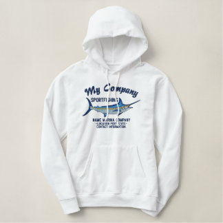 Personalized Sport Fishing Blue Marlin Embroidery Embroidered Hoodie
