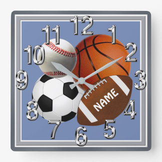 Personalized Sports themed Clock, Your Text, Color Square Wall Clock