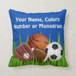 PERSONALIZED Sports Throw Pillows, Change Colors Throw Pillows