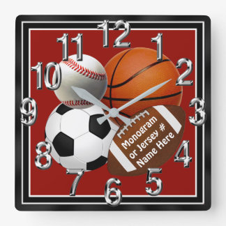 PERSONALIZED Sports Wall Clocks Your TEXT, COLORS