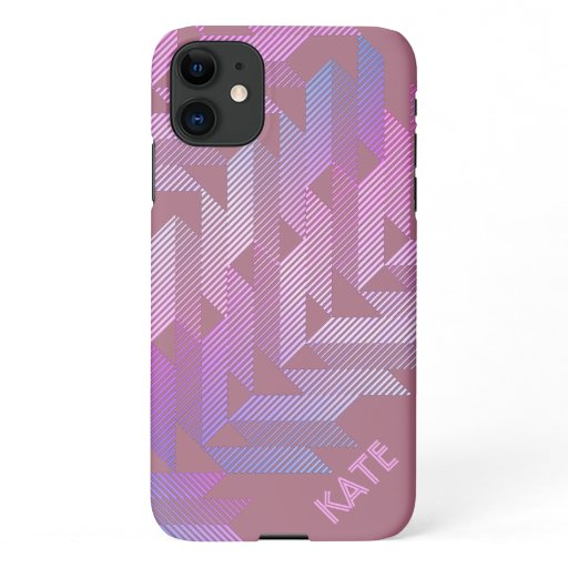 Personalized Sporty Stripes Dusty Rose iPhone 11 Case