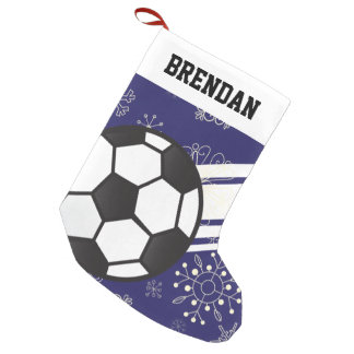 Personalized Sporty Stripes Soccer Ball Blue Small Christmas Stocking