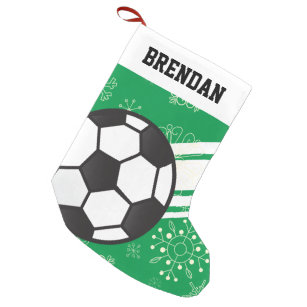 personalized sporty stripes soccer ball green small christmas stocking - Striped Christmas Stockings